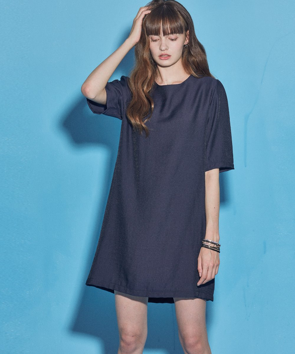 SIMPLE SHORT  SLEEVE ONE-PIECE_NAVY